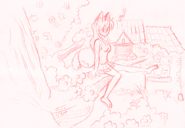 Loupa,arbre,maison,croquis,dessin,crayon,neko girl